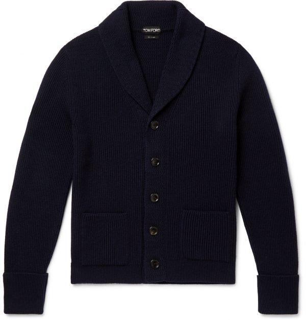 TOM FORD - Shawl-Collar Cashmere Cardigan - Men - Blue