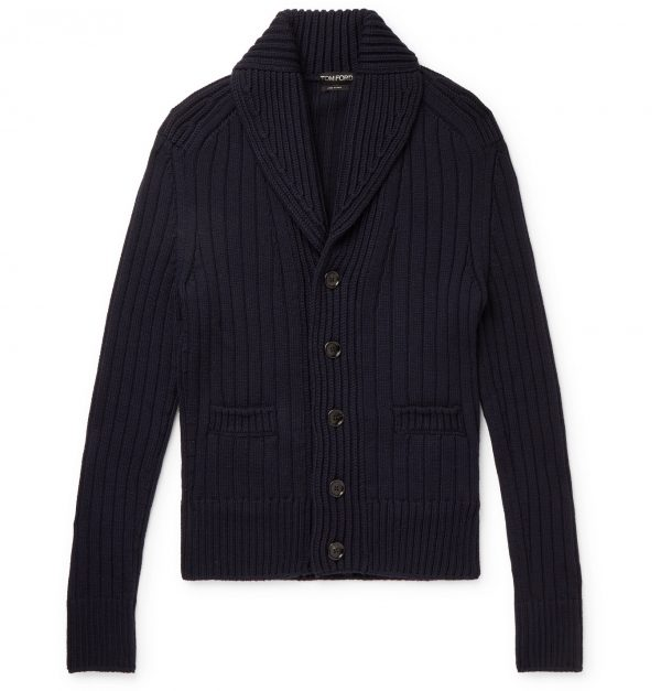 TOM FORD - Shawl-Collar Ribbed Merino Wool Cardigan - Men - Blue