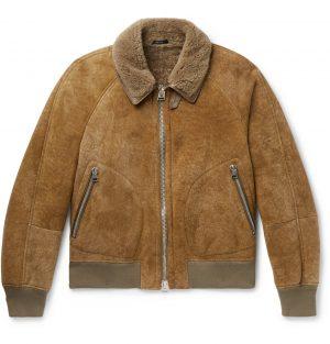 TOM FORD - Shearling Bomber Jacket - Men - Brown