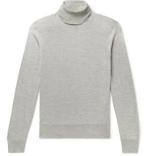 TOM FORD - Silk Rollneck Sweater - Men - Silver