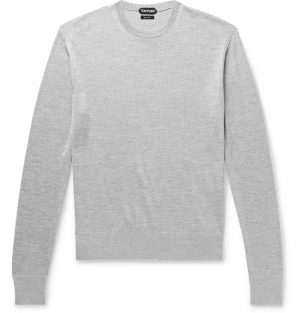 TOM FORD - Silk and Cotton-Blend Sweater - Men - Gray