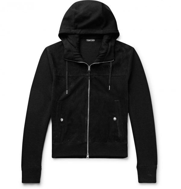 TOM FORD - Slim-Fit Panelled Merino Wool and Suede Zip-Up Hoodie - Men - Black