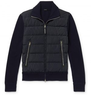 TOM FORD - Slim-Fit Panelled Ribbed Wool and Quilted Shell Down Jacket - Men - Blue