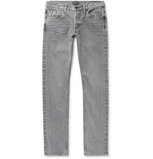 TOM FORD - Slim-Fit Selvedge Stretch-Denim Jeans - Men - Gray