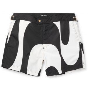 TOM FORD - Slim-Fit Short-Length Printed Swim Shorts - Men - Black