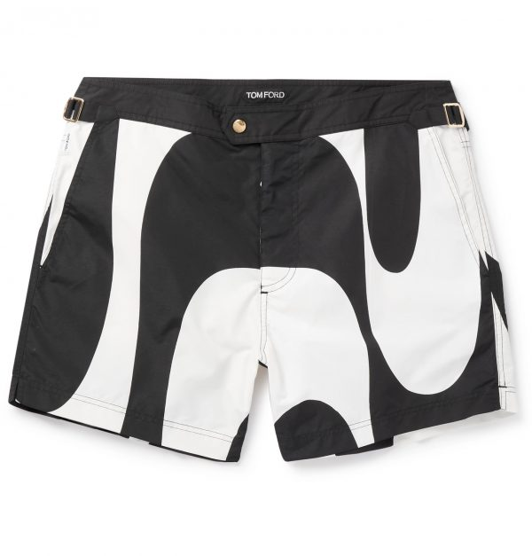 TOM FORD - Slim-Fit Short-Length Printed Swim Shorts - Men - Black