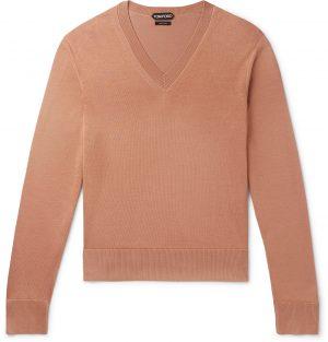 TOM FORD - Slim-Fit Silk and Wool-Blend Sweater - Men - Metallic