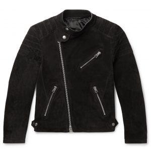 TOM FORD - Slim-Fit Suede Biker Jacket - Men - Black