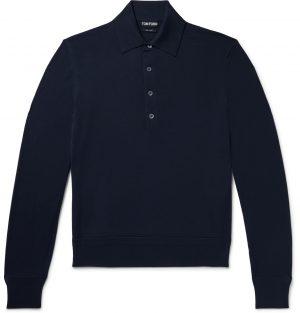 TOM FORD - Slim-Fit Wool Polo Shirt - Men - Blue