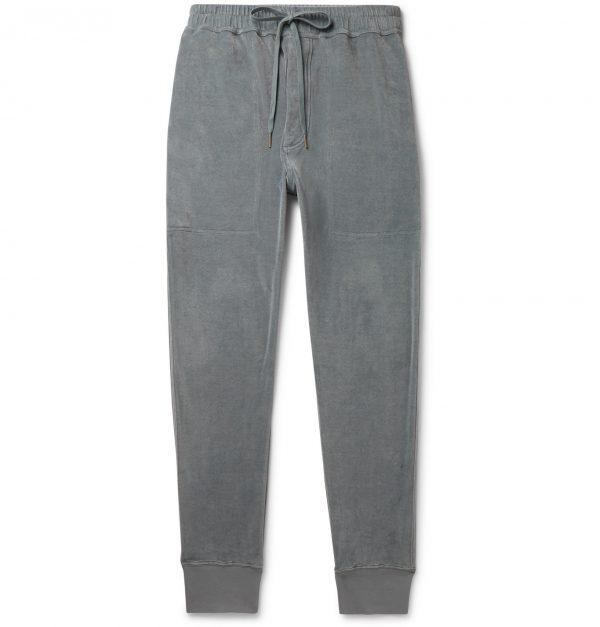 TOM FORD - Tapered Cotton-Blend Velour Sweatpants - Men - Blue