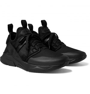 TOM FORD - Vellus Suede and Rubber-Trimmed Neoprene and Mesh Sneakers - Men - Black
