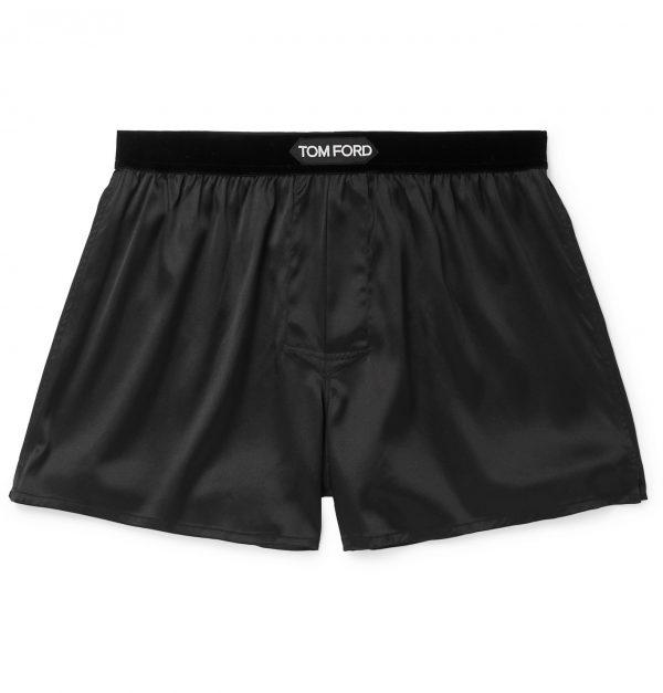 TOM FORD - Velvet-Trimmed Stretch-Silk Satin Boxer Shorts - Men - Black