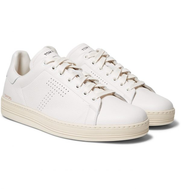 TOM FORD - Warwick Perforated Full-Grain Leather Sneakers - Men - White