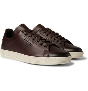 TOM FORD - Warwick Perforated Leather Sneakers - Men - Burgundy