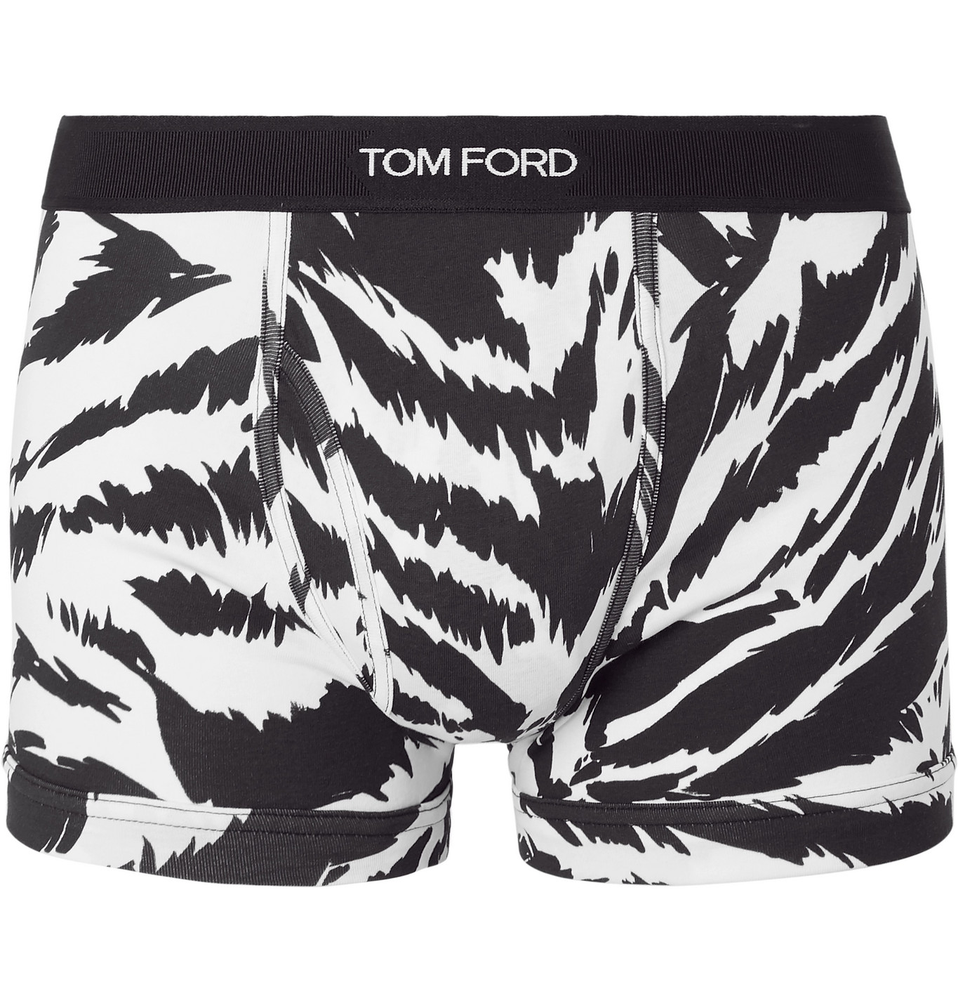 TOM FORD - Zebra-Print Stretch-Cotton Jersey Boxer Briefs - Men - White