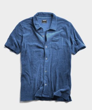 Terry Button Down Polo in Light Blue