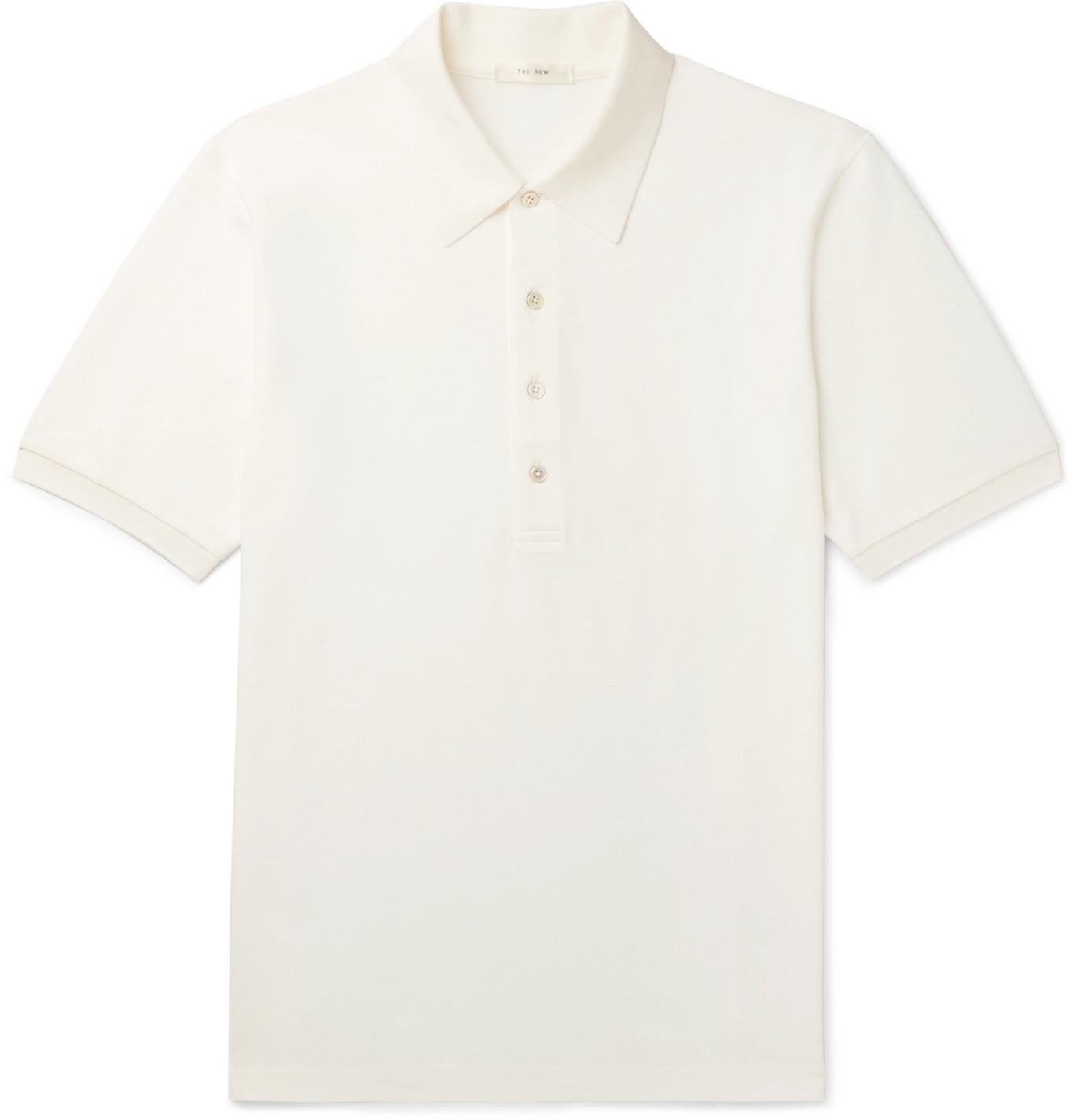 The Row - Noel Cotton-Piqué Polo Shirt - Men - Neutrals