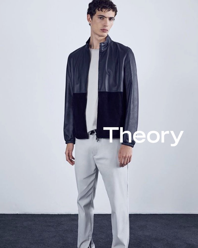 Front and center, Piero Mendez appears in Theory's advertising campaign.