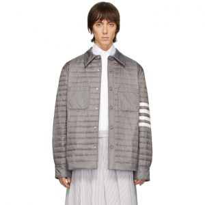 Thom Browne Grey Down 4-Bar Quilted Shirt Jacket