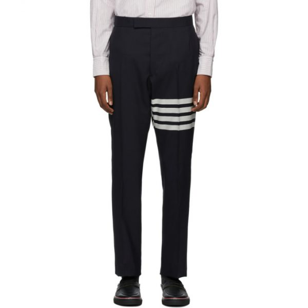 Thom Browne Navy 4-Bar Backstrap Trousers