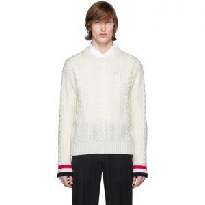 Thom Browne Off-White Merino Aran Cable Sweater