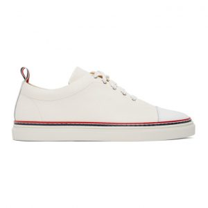 Thom Browne Off-White Straight Toe Cap Sneakers