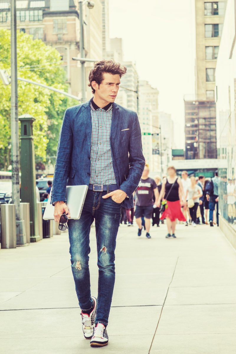 Trendy Young Man Jeans and Blazer Look