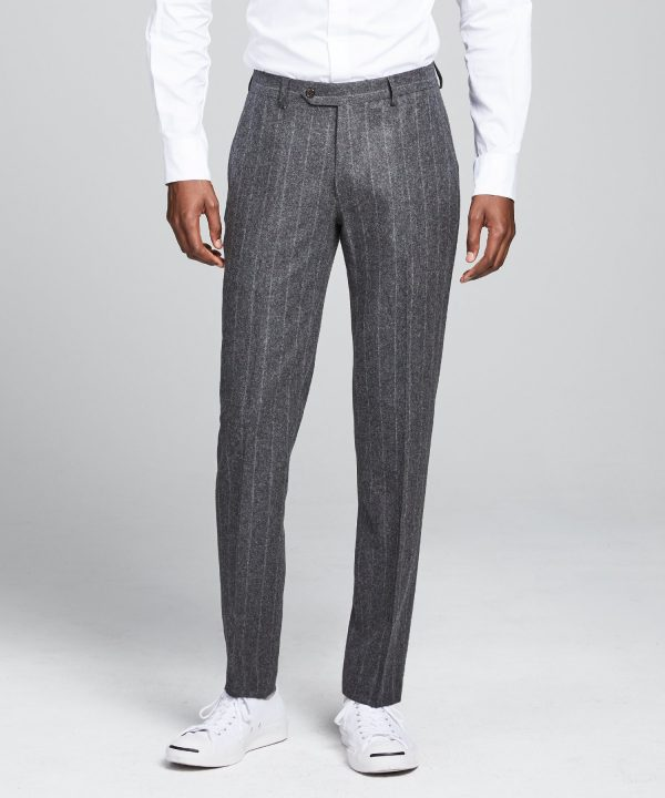 Wool Chalk Stripe Sutton Suit Trouser in Charcoal