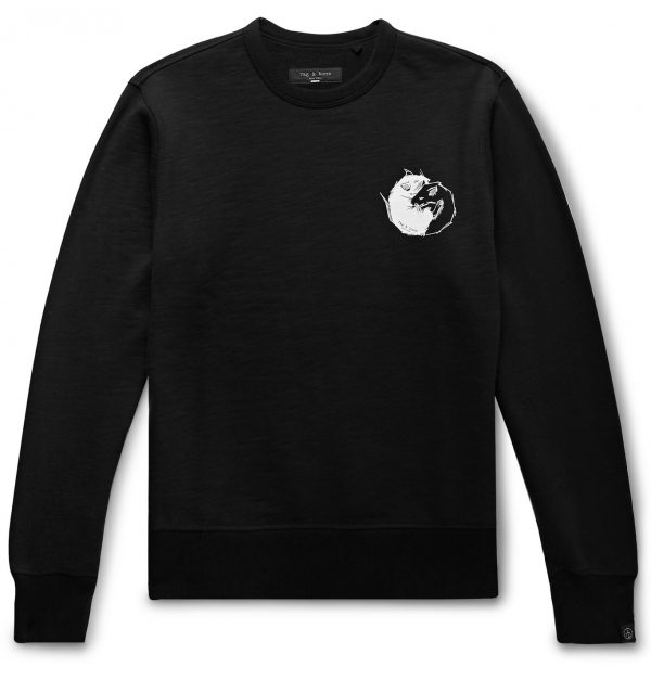 rag & bone - Printed Loopback Cotton-Jersey Sweatshirt - Men - Black