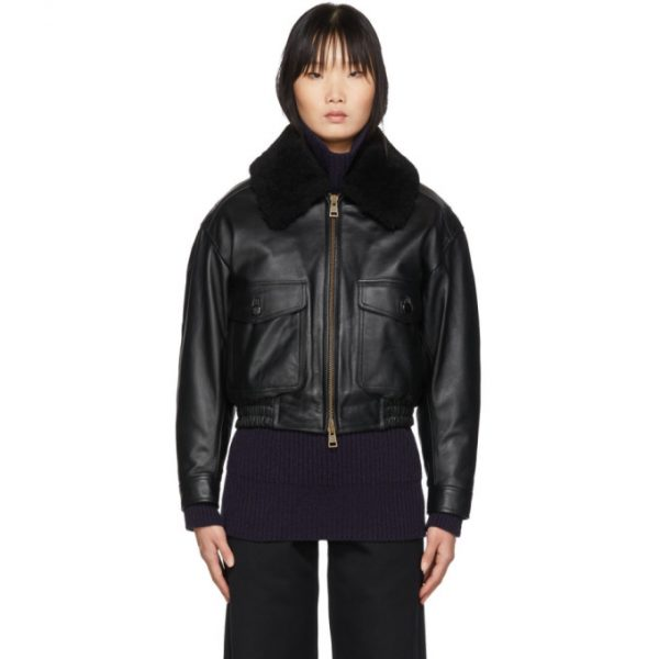 AMI Alexandre Mattiussi Black Grained Leather Shearling Jacket