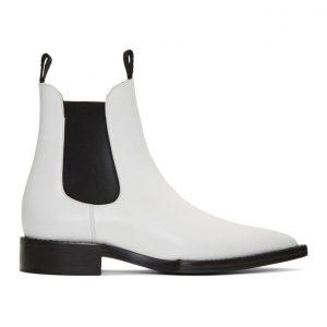 AMI Alexandre Mattiussi White Pointed Chelsea Boots