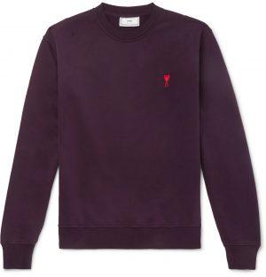 AMI - Logo-Embroidered Loopback Cotton-Jersey Sweatshirt - Men - Burgundy