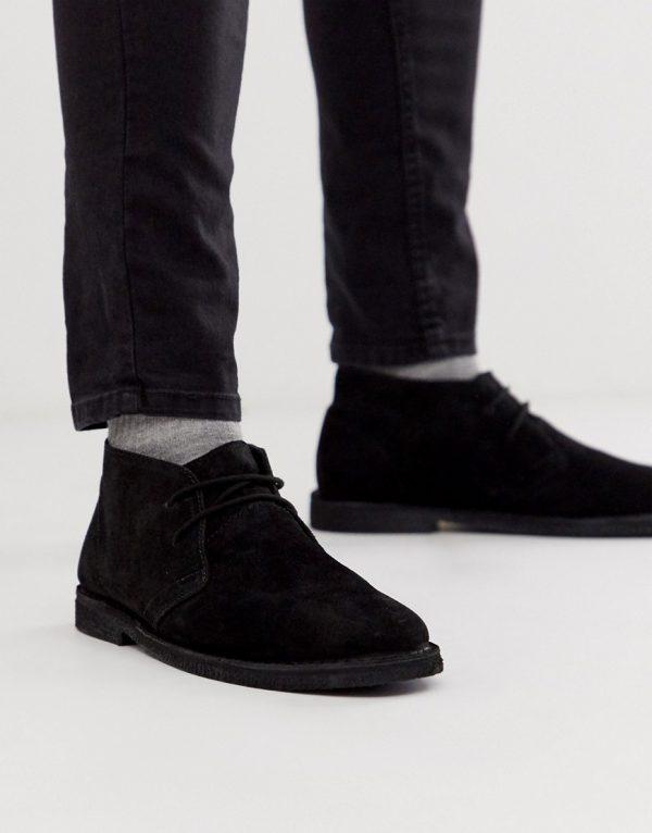 ASOS DESIGN desert chukka boots in black suede