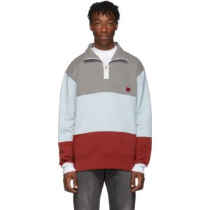 Acne Studios Grey and Red Face Face Haf-Zip Sweatshirt