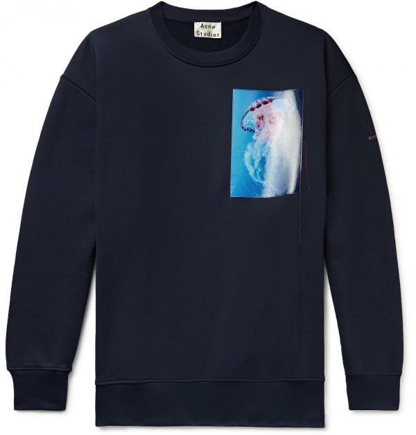 Acne Studios - Oversized Appliquéd Loopback Cotton-Blend Jersey Sweatshirt - Men - Blue