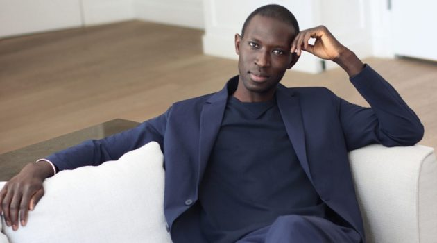 Armando Cabral dons a textured slim fit blazer and suit pants from Mango's Coolmax collection.