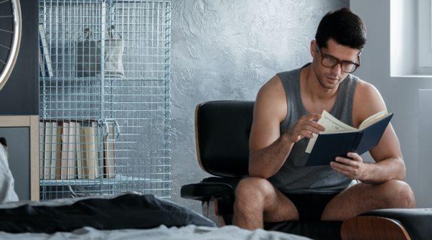 Attractive Man Reading Underwear