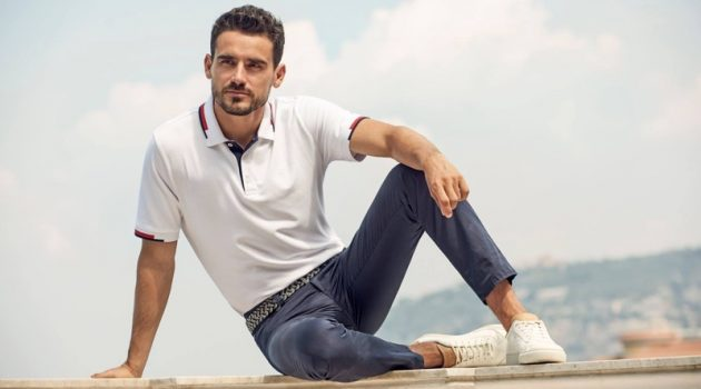 Arthur Kulkov sports a polo shirt and chinos for BRAX's spring-summer 2020 campaign.