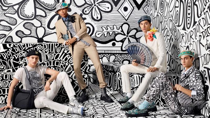 Thatcher Thornton, Jecardi Sykes, Issa Naciri, and Ludwig Wilsdorff front Dior Men's pre-fall 2020 campaign.