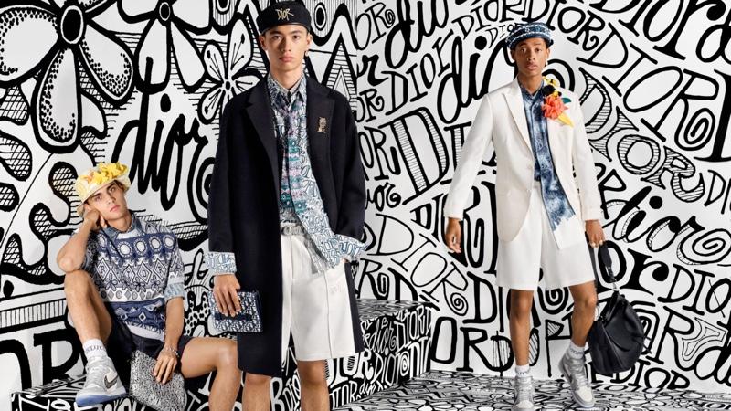 Ludwig Wilsdorff, Issa Naciri, and Jecardi Sykes star in Dior Men's pre-fall 2020 campaign.