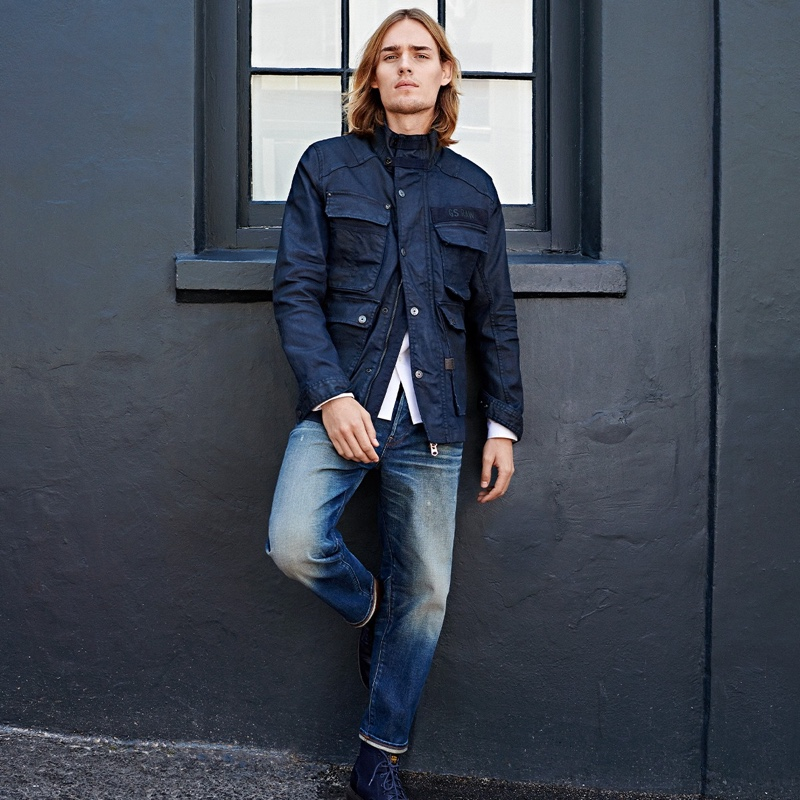 Donning an Australian safari jacket, Ton Heukels appears in G-Star Raw's spring-summer 2020 campaign.