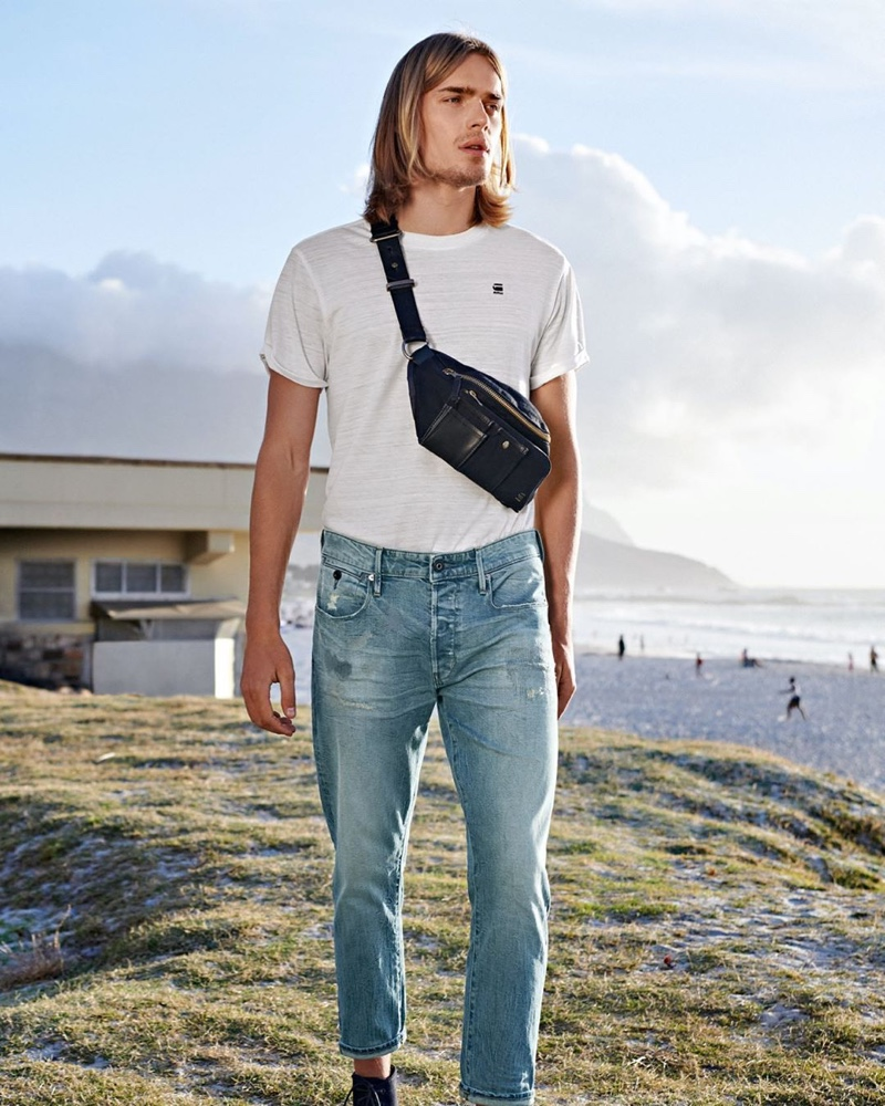 Sporting a belt bag and denim jeans, Ton Heukels fronts G-Star Raw's spring-summer 2020 campaign.