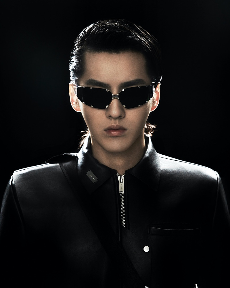 Making a stylish statement, Kris Wu wears the GW 001 02 goggle style sunglasses from his Gentle Monster collaboration.