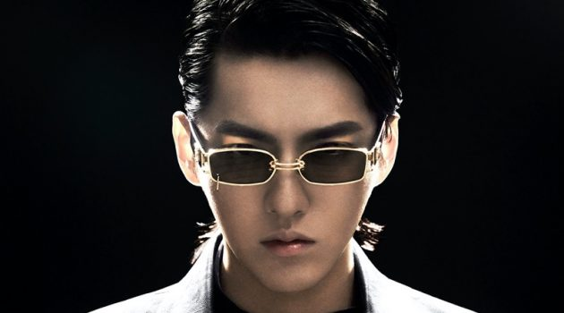 Channeling a sci-fi vibe, Kris Wu rocks the GW 002 03 rectangular gold metal framed sunglasses from his Gentle Monster collaboration.