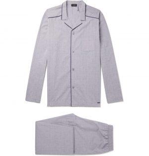 Hanro - Checked Mercerised Cotton Pyjama Set - Men - Gray