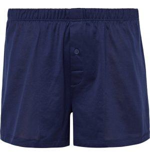 Hanro - Sporty Mercerised Cotton Boxer Shorts - Men - Blue