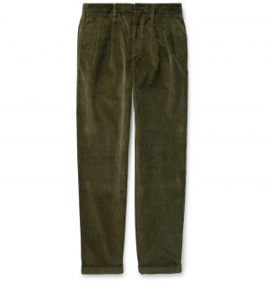 J.Crew - Wallace & Barnes Pleated Cotton-Corduroy Trousers - Men - Green