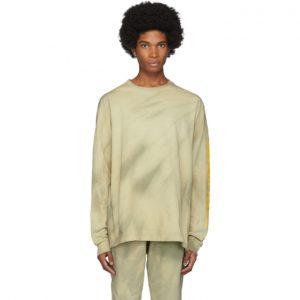 John Elliott Beige and Green CAT Edition Double Dye University Long Sleeve T-Shirt