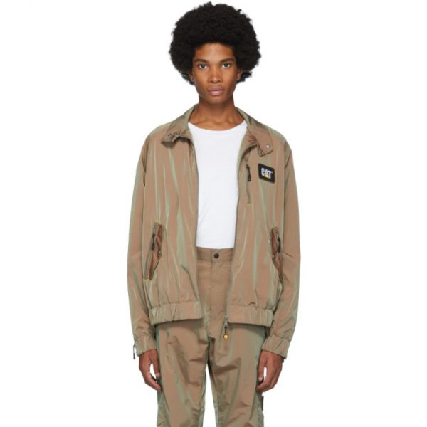 John Elliott Brown CAT Edition Iridescent Nylon Harrington Jacket