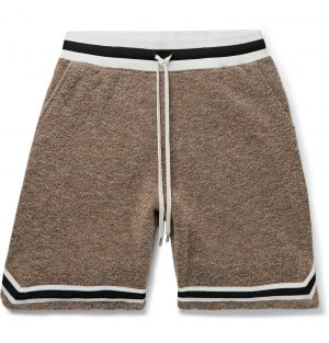 John Elliott - Game Wide-Leg Mélange Bouclé Drawstring Shorts - Men - Brown